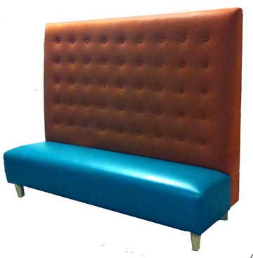 Michella Designer Banquette  Displayed In: Derwin Orange Fabric and a Blue Furia Vinyl Seat with Natural Maple Legs   Dimensions:   72″ (customizable)  D: 26″  H: 60″   Available in custom sizes & fabrics.  This designer banquette features an extremely tall and dramatic back with button detailing.  This fine piece of restaurant furniture can make an incredible impact statement and lasting impression on your customers.