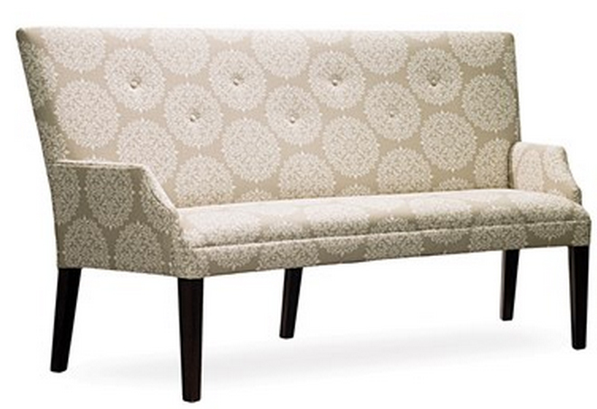 Paris Bench Designer Banquette  As Displayed: Printed Beige Fabric   Dimensions:   L: 71″  D: 30″  H: 40″   Available in custom sizes & fabrics  .    A stunning design and a stunning fabric choice make for a stunning custom banquette as illustrated by our Paris Bench Custom Banquette.