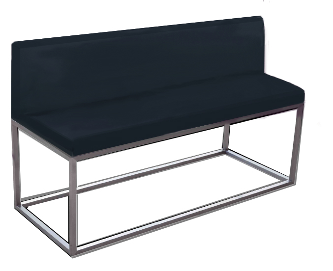 Otto Chrome Designer Banquette  Displayed in: Metal Frame   Dimensions:   W: 50″  D: 19″  H: 34″   Available in custom sizes & fabrics.
