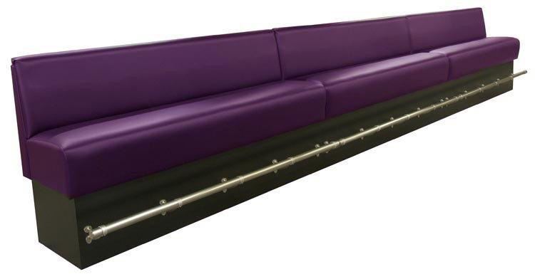 "Sausalito ""Bar-Height"" Custom Banquette   As Displayed:Plum Leatherette   Dimensions:   L: 30′  D: 26″  H: 48″   Available in custom sizes & fabrics.  This custom banquette at ""bar-height"" is ideal for lounge and long bar walls.  It will maximize your seating capacity and can be used with your high-tops and bar stools."