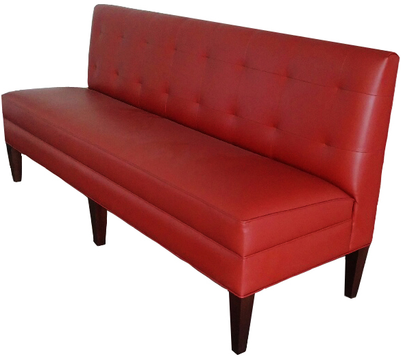 Roque Designer Banquette As Displayed : Red Leather   Dimensions:   W: 48″ (customizable)  D: 26″  H: 36″   Available in custom sizes & fabrics.   Rouge is the epitome of smart design, custom tailoring and stylish sophistication. Its biscuit-tufted back and stained tapered wood legs make it an appealing addition to any restauranteur's seating option.