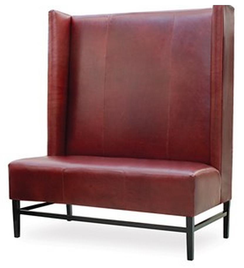 Baldwin   Designer Banquette    Displayed  In: Red Leather & Black Finish   Dimensions:   L: 53″  D: 29″  H: 62″   Custom sizes & fabrics   are always available. .  Create an imposing impression with and feature this grand banquette in your restaurants dining room.