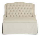 Simone Designer Banquette  As Displayed: White Fabric   Dimensions:   W: 47″-69″ (customizable)  D: 29″  H: 41″   Available in custom sizes & fabrics  .   The plush Simone custom banquette features a diamond-tufted back and a dressmaker-skirt. Can be made with exposed tapered legs for a light feel.  Its the perfect compliment to a four-top, opposite 2 dining chairs.