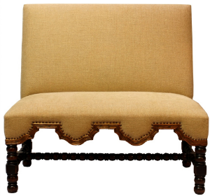 San Marco Designer Banquete As Displayed :Euro Burlap Fabric, Maple Finish, and Antique Nailheads   Dimensions:   W: 45″  D: 22″  H: 44″  This fantastic European Designer Banquette will add an immense amount of character and flavor to any restaurants dining area.