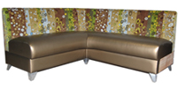 "Somerset Custom Banquette  As Displayed: Meteorite Vinyl Floral Fabric   Dimensions:   L: 72″ X 72″  D: 25″  H: 36″   Available in custom sizes & fabrics  .   This custom banquette is modern and contemporary ""one-of-a-kind""  piece when combined with interested & contrasting fabric choices supported by the bold satin chrome legs...a stand-out in any restaurant's dining room."