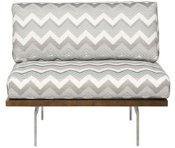 Vista Contemporary Banquette  As Displayed: Grey and White Zig Zag Fabric.   Dimensions:   W: (customizable)  D: 23″  H: 40″, Seat Height: 18.5″   Available in custom sizes & fabrics.    This contemporary banquette with its minimalist look is perfect for those operators looking for that trendy look that todays restaurant goers appreciate.