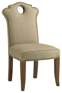 love Displayed In: Fruitwood wood finish  Optional: Nailhead trim   Dimensions:   W: 25″  D: 27″  H: 43″