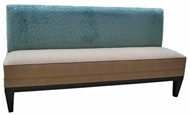 Aqua    Customr Banquette    Displayed  In: Aqua Chenille, Beige Fabric and Wenge Finish   Dimensions:   W: 60″  D: 26″  H: 32″   Custom sizes & fabrics   are always available.   Aqua is elegant with tapered legs and a simple square upholstered seat with welt detail. Perfect for the casual-chic restaurant look. Customize the fabric and finish to suit your restaurant space.