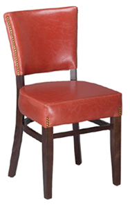 displayed Above In: Walnut Finish & Ruby-Rust Vinyl   Dimensions:   W: 18″  D: 19″  H: 33.5″ *Matching Barstool Available