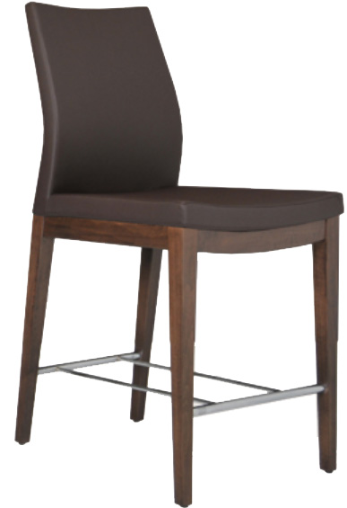 Displayed Above In: Black Camira Wool   Dimensions:   W: 16.5″  D: 21″  Bar Height: 45″, Seat Height: 29″ Available in multiple finishes & fabrics   *Matching Side Chair Available