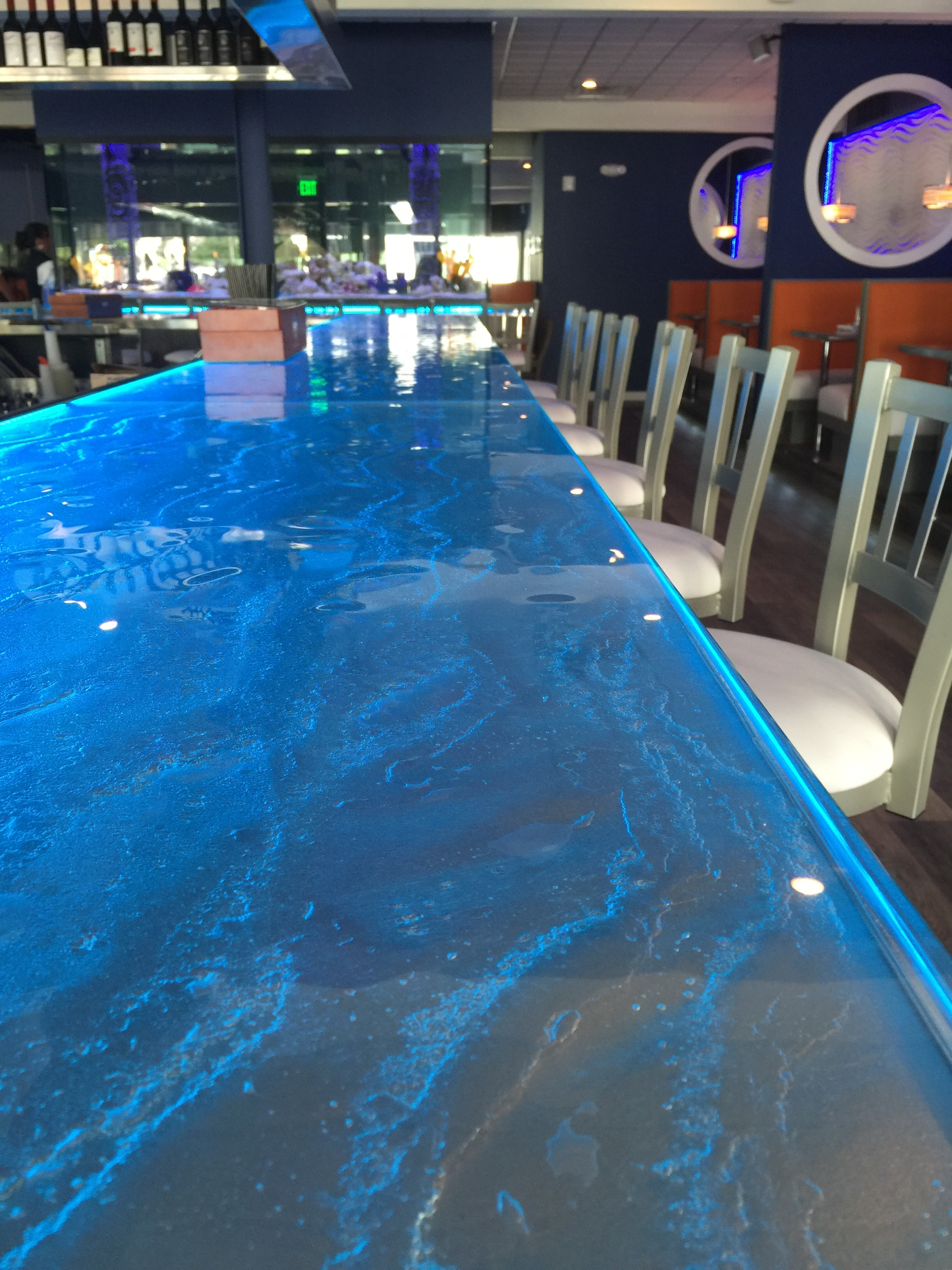 Restaurant Designer Glass Bar Top