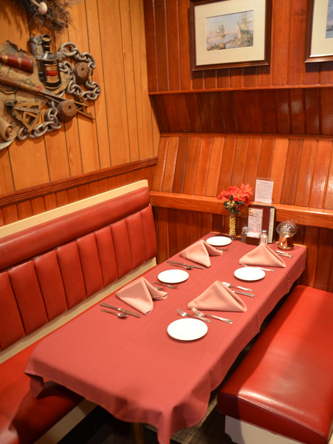 """""""Before"""" Old diner-like booths at Ships Inn, """""""