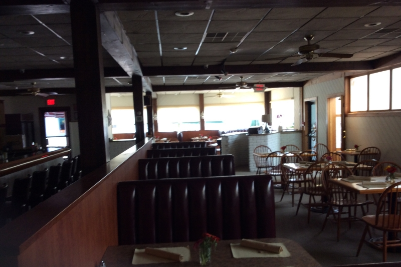 """""""Before"""" Drop-ceilings, old wood and laminate table tops."""