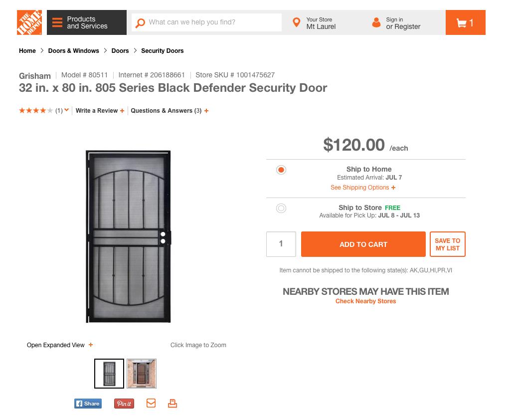 FRONT SECURITY DOOR