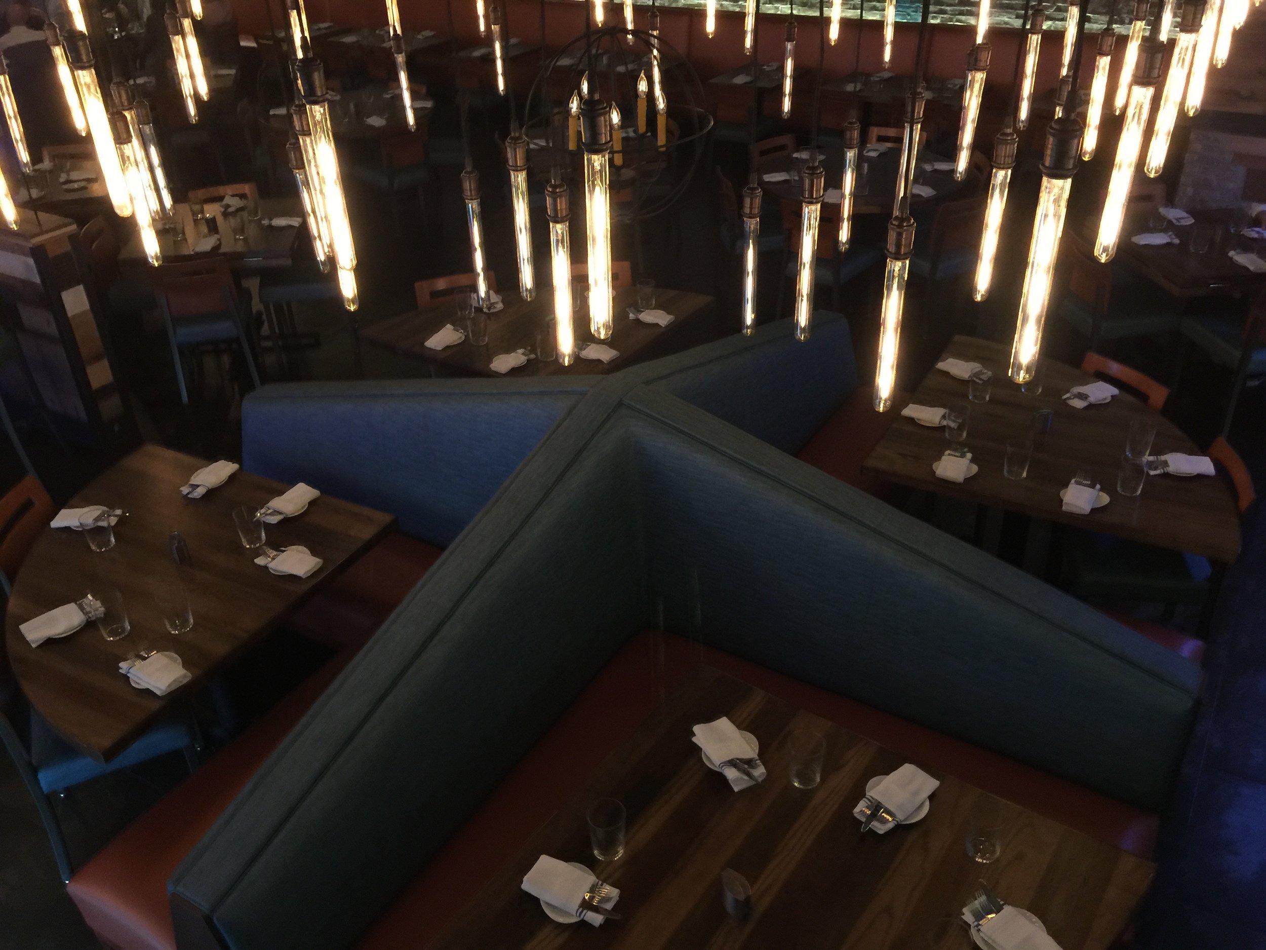 Ariel view of  Raymond Haldeman's Pinwheel Banquette Design ®™