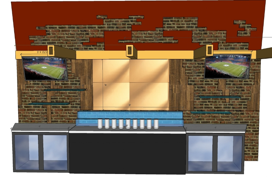 """BACK BAR WITH STANDARD 95""""W KEGERATOR, 2 SHLEF 8' WIDE LED LIQUOR DISPLAY, 12""""X36"""" CANTILEVERED GLASS SHLVES, 44""""-46"""" DIAGONAL FLAT SCREENS ANGLE DOWNWARD. BACK-WALL UP TO 8' MIX OF BRICK AND RECLAIMED WOOD, ABOVE BEAM MIX OF BRICK AND RED PAINTED WALL"""