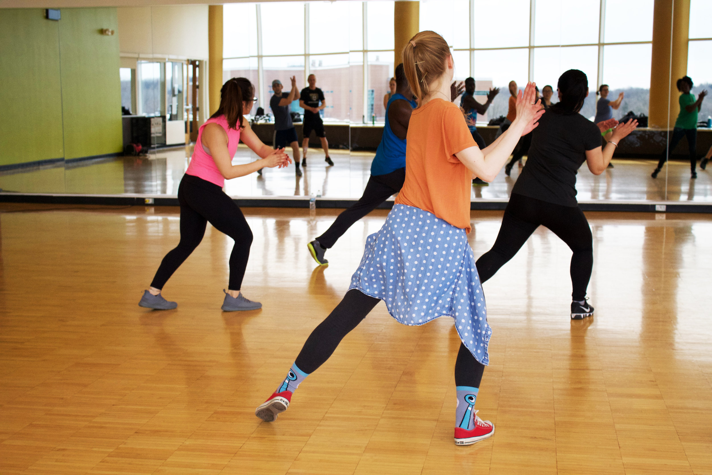 Bump up the fun with our  Zumba  dance fitness classes. Dance to the energetic latin and hip hop beats and get your sweat on. Each class mixes high and low intensity sequences to burn the most calories and make the workout suitable for all ages and levels.