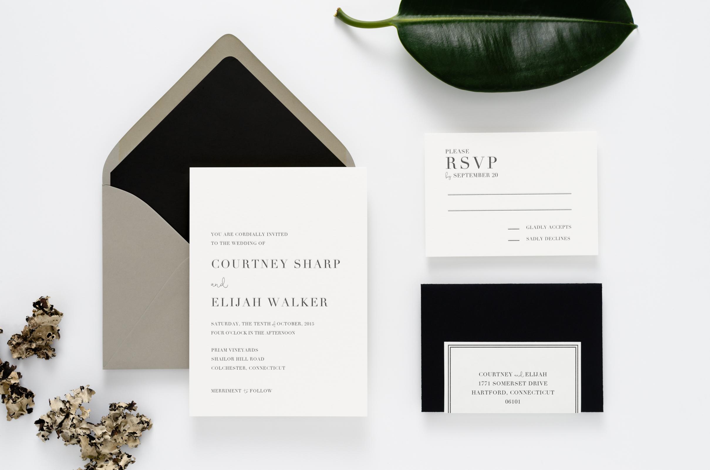 Bold, crisp, and modern letterpress wedding invitation