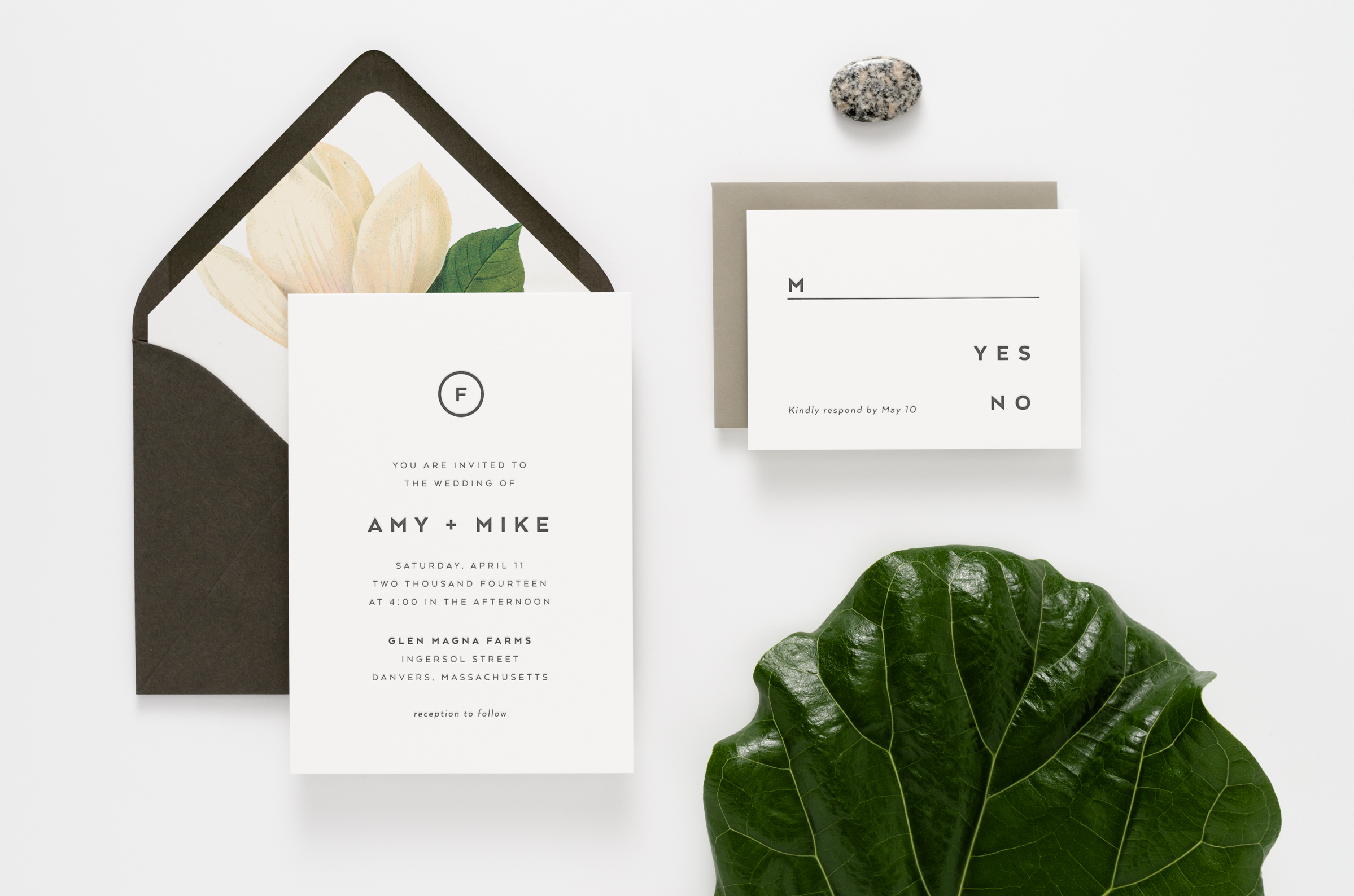 Clean, modern, and masculine letterpress wedding invitation suite