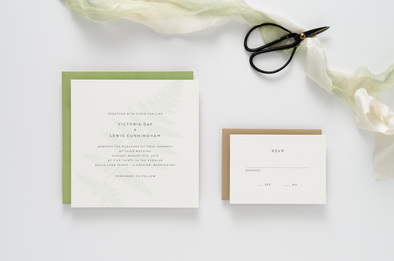 Natural, botanical, fern themed letterpress wedding invitation