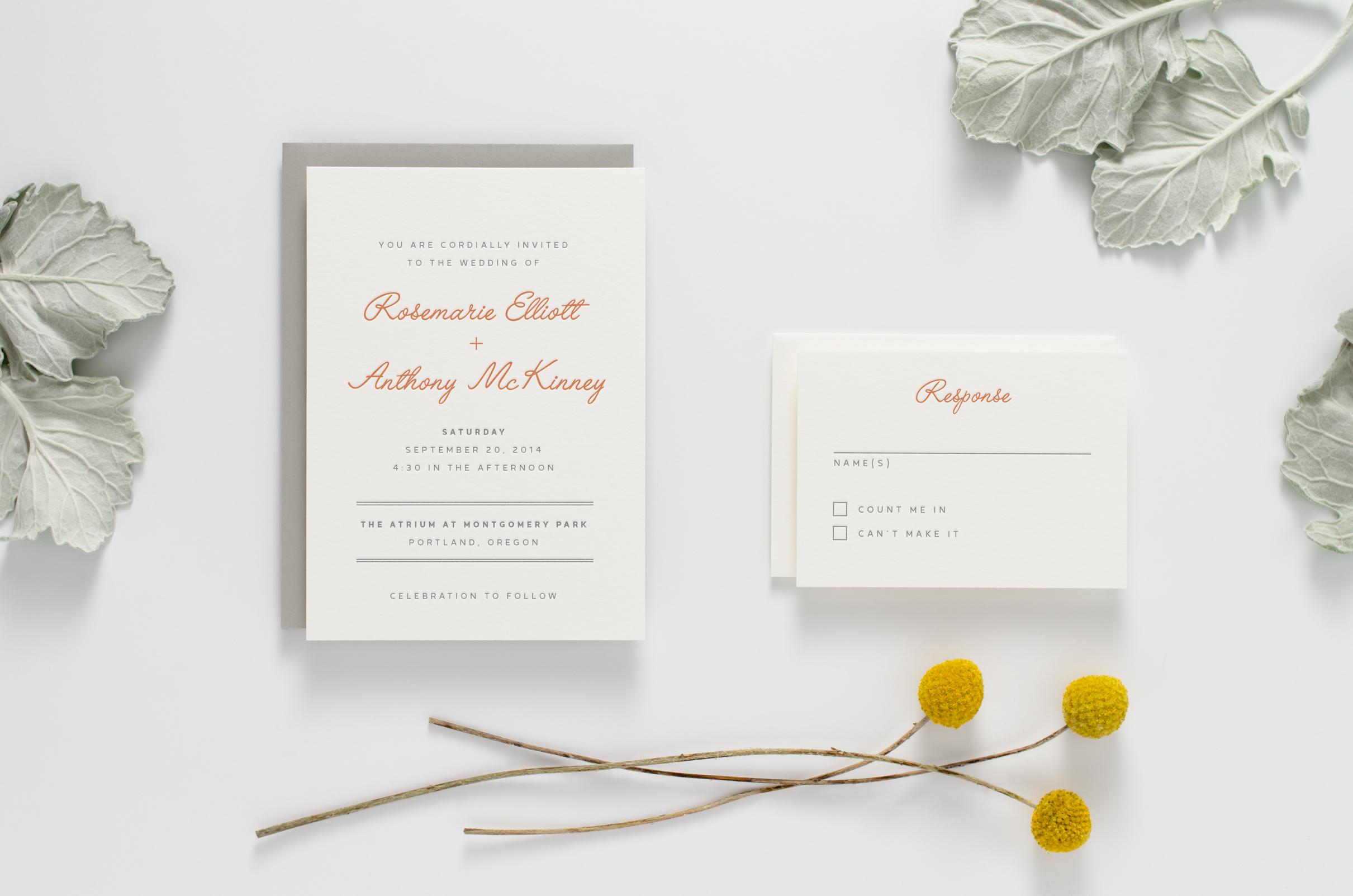 Fun, creative, modern yet retro letterpress wedding invitation suite