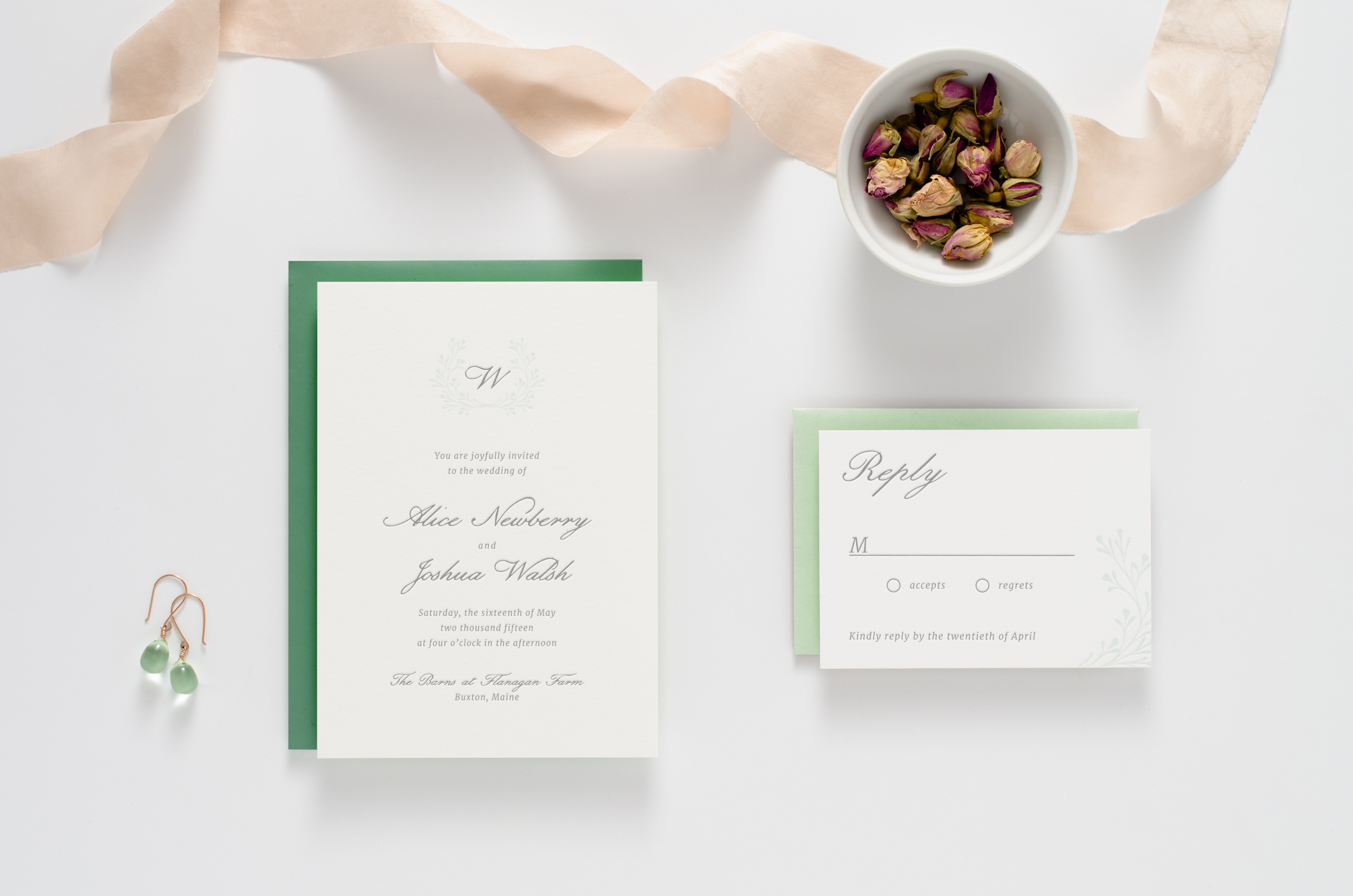 Understated, sweet, natural-themed letterpress wedding invitation suite