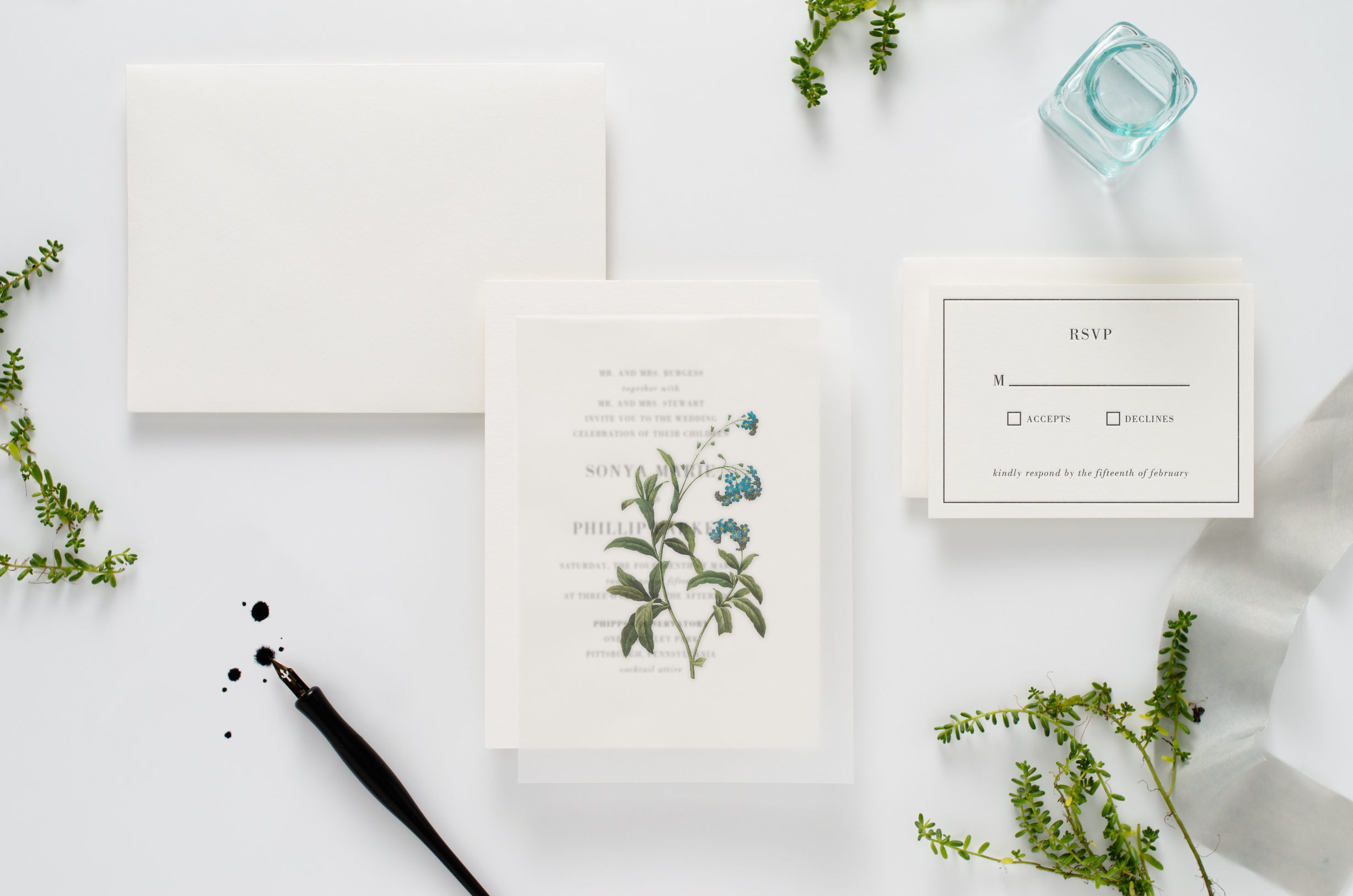 Herbarium-esque, botanical themed letterpress wedding invitation suite with floral vellum overlay