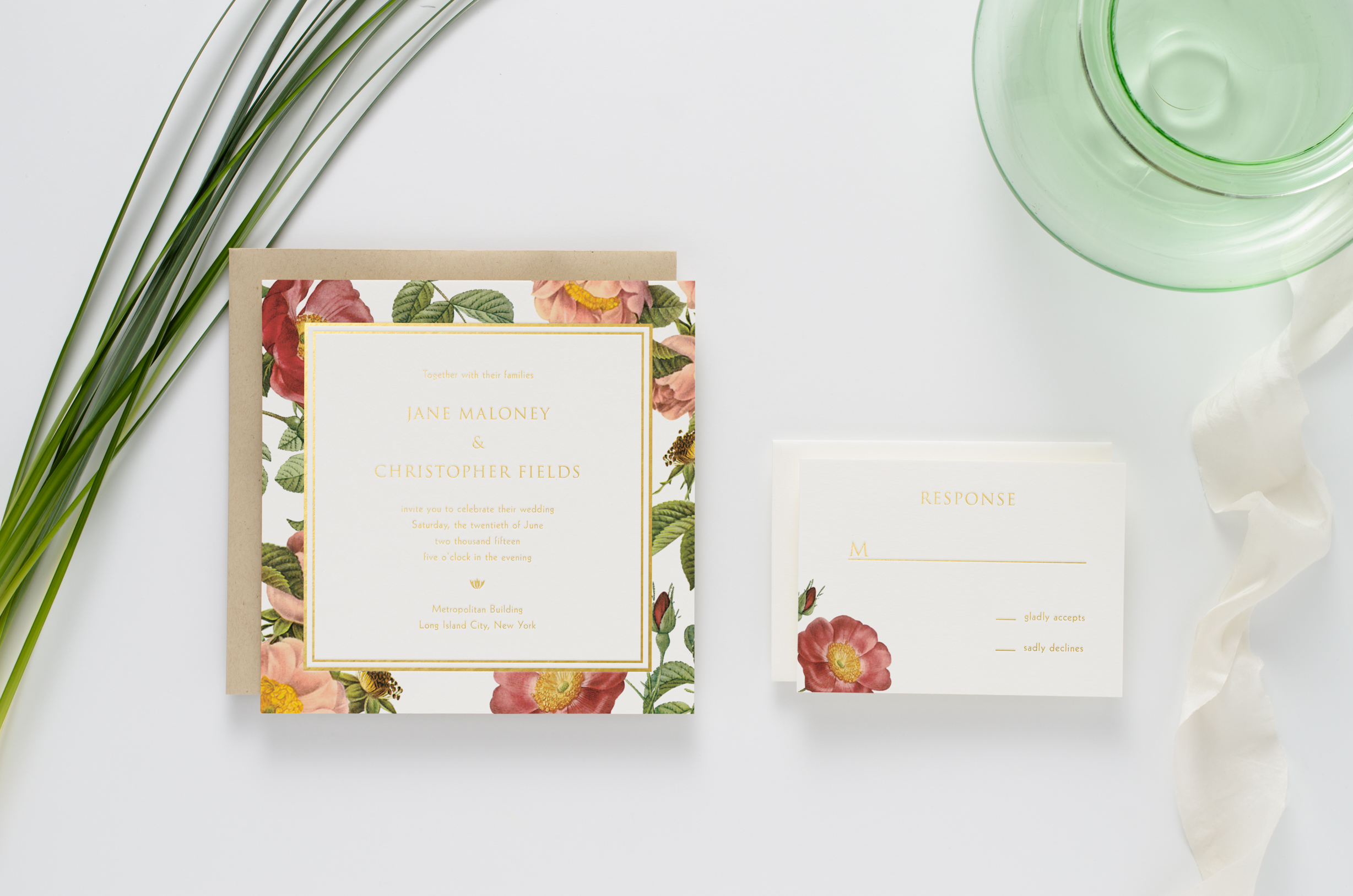 Classic garden style, floral wedding invitation suite printed with gold foil
