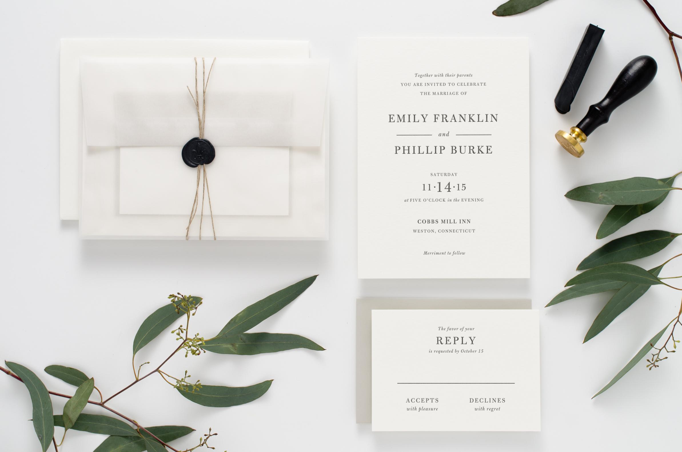 Bold, clean, unique letterpress wedding invitation suite with vellum outer envelope