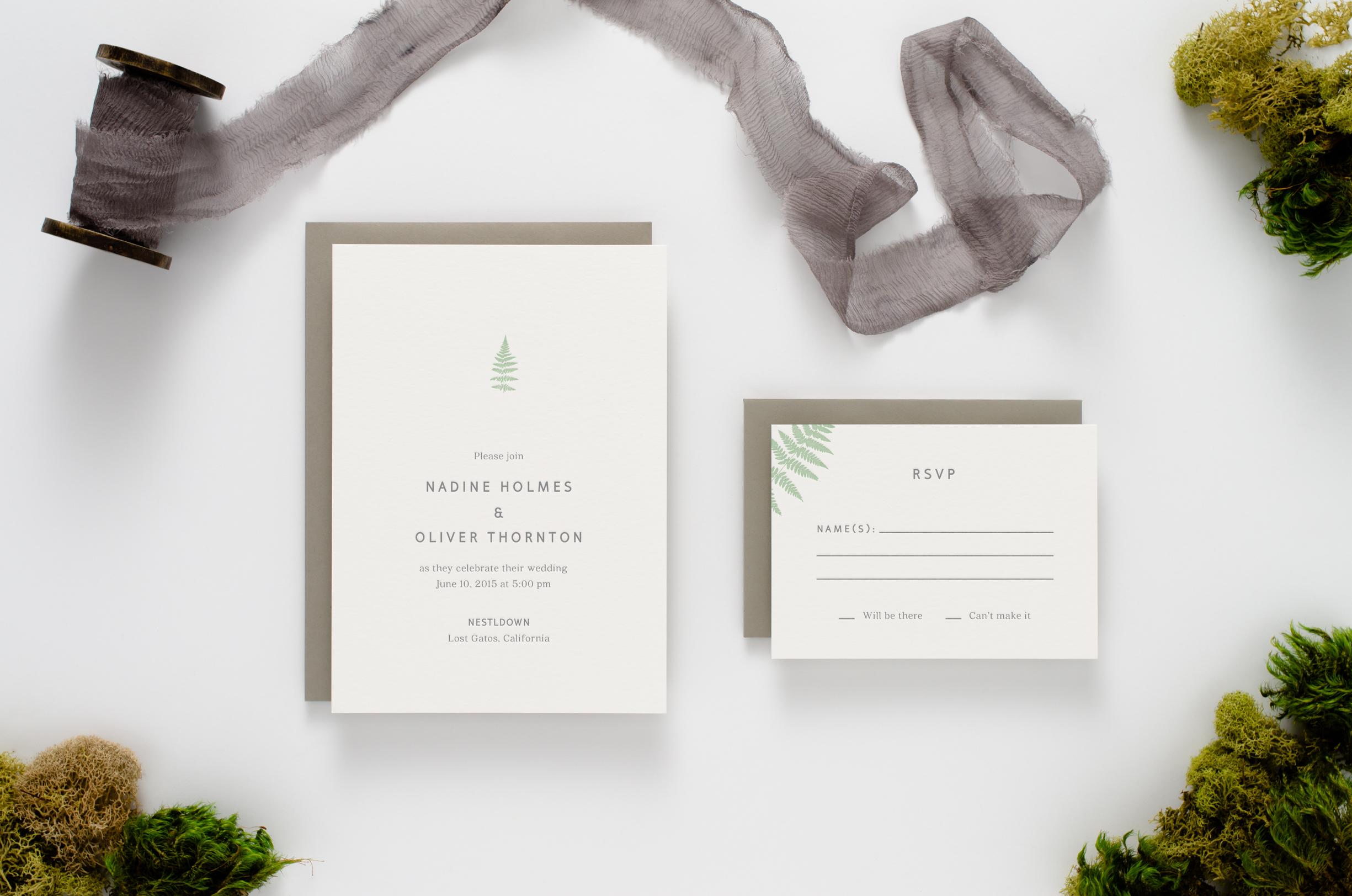 Fresh, modern, botanical themed letterpress wedding invitation with sword ferns