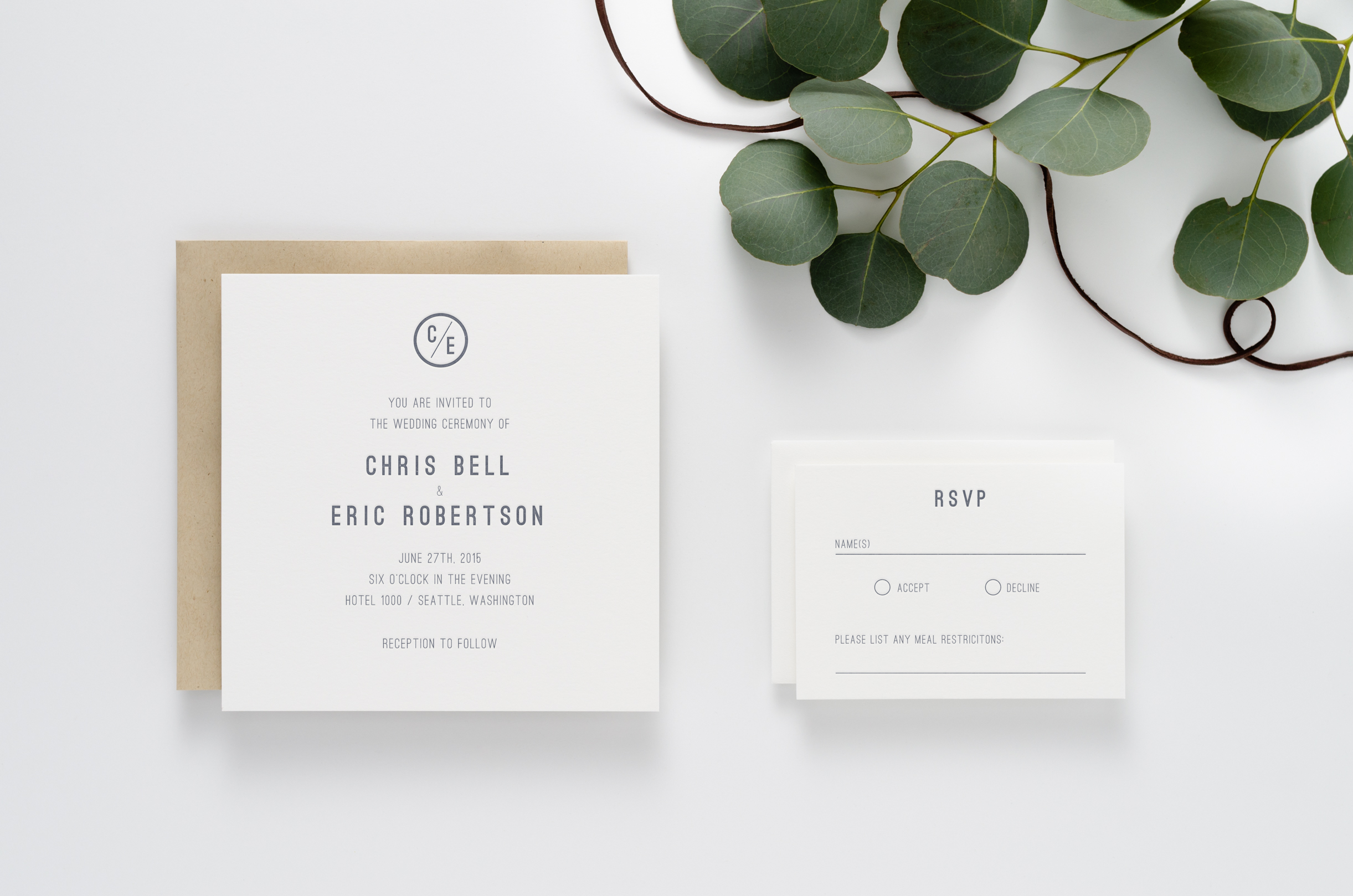 Simple, modern, masculine, square letterpress wedding invitation suite