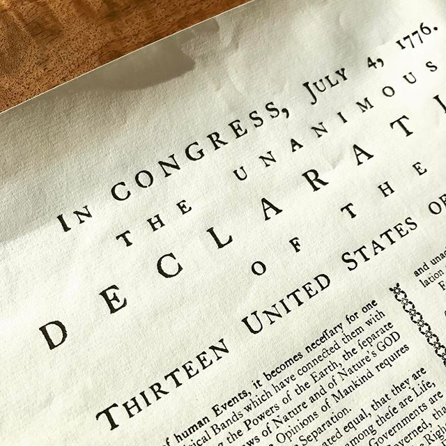 When your husband goes to Philly and brings you back a letterpress edition of the Declaration of Independence.  Look at that hand-set type 👏🏽 #heknowswhatilike #letterpress