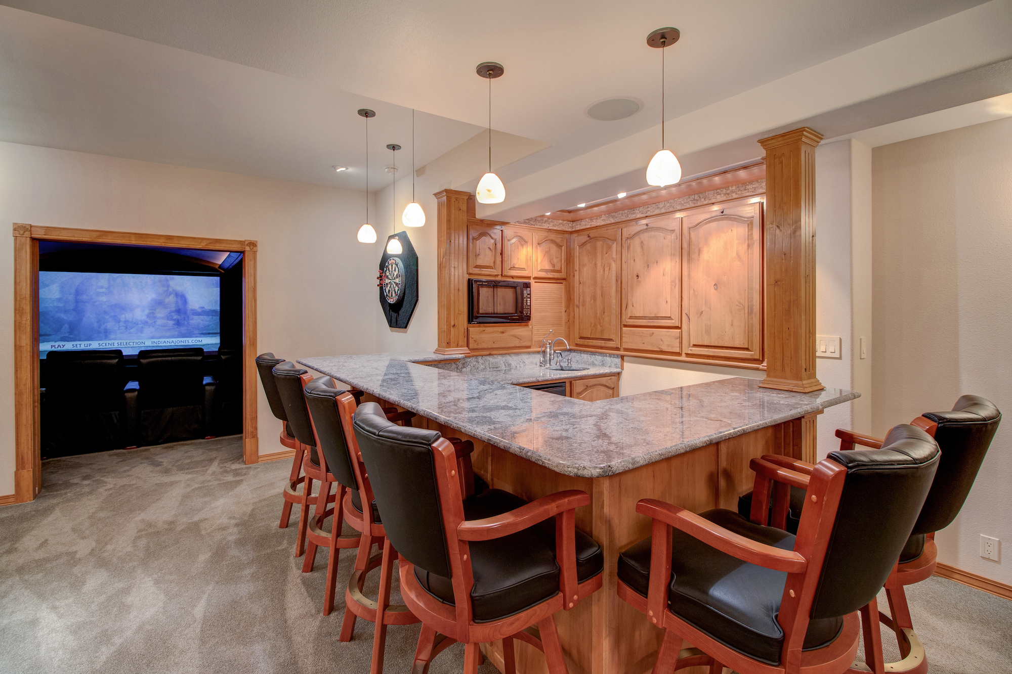 18-Wet bar in rec room has 2 under counter fridges w icemaker, dishwasher, trash compactor, and microwave.jpg
