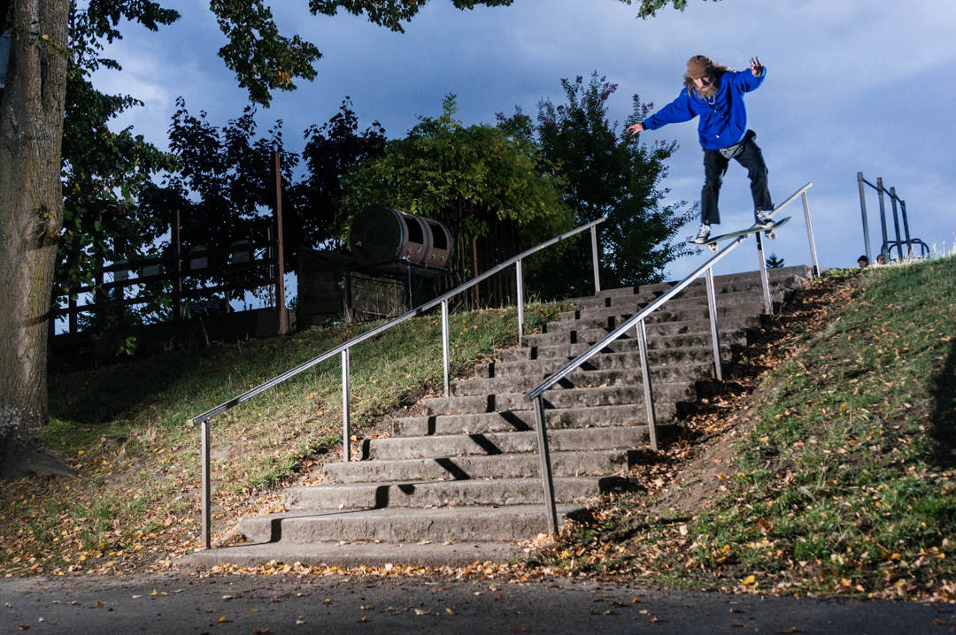 Here's Brendon hopping on a Portland slider bar, wasted as heck and the last spot of the day. Right behind the camera is a wall, so he sent full speed into that bad boy upon rollaway -