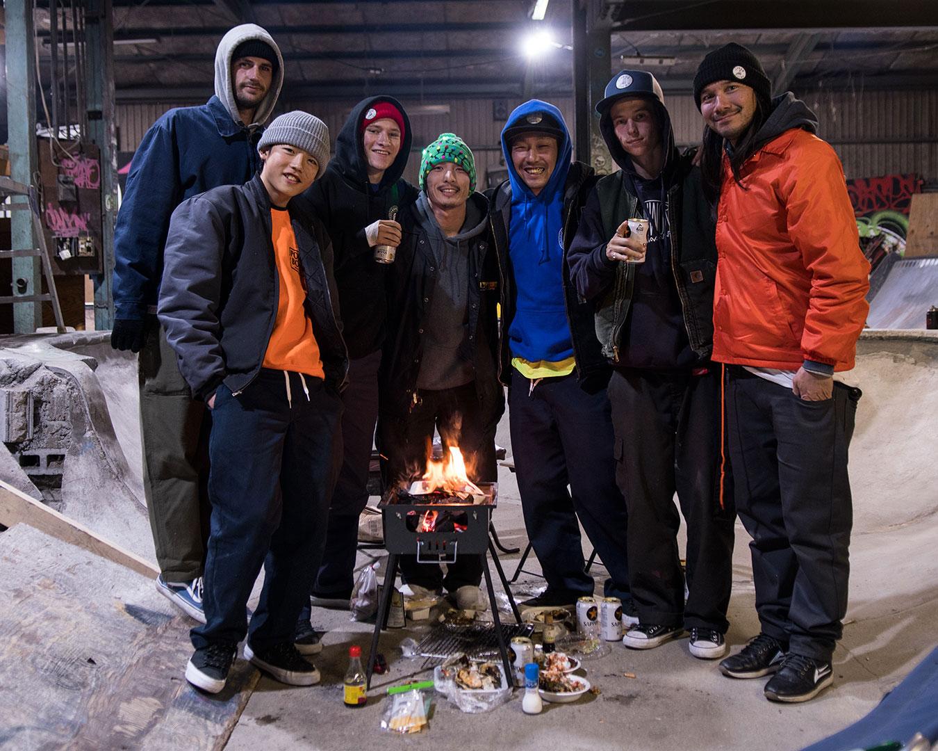 "Osaka homies (center) Hiroki ""Tank"" Nomura and Naoto Oda from Powerbomb skatepark. L to R Cody Subido, Natsuki Kinoshita, Archer Braun, Elijah Akerley and Tadashi Yamaoda."