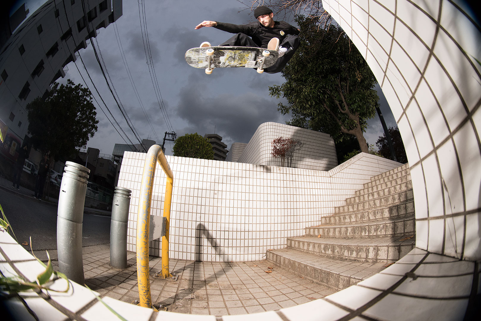 Cody covered some ground with this ollie in the city.