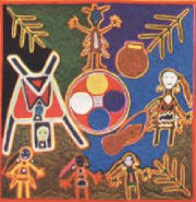 Mayan depiction of Huichol Maize Mother and her Five Daughters