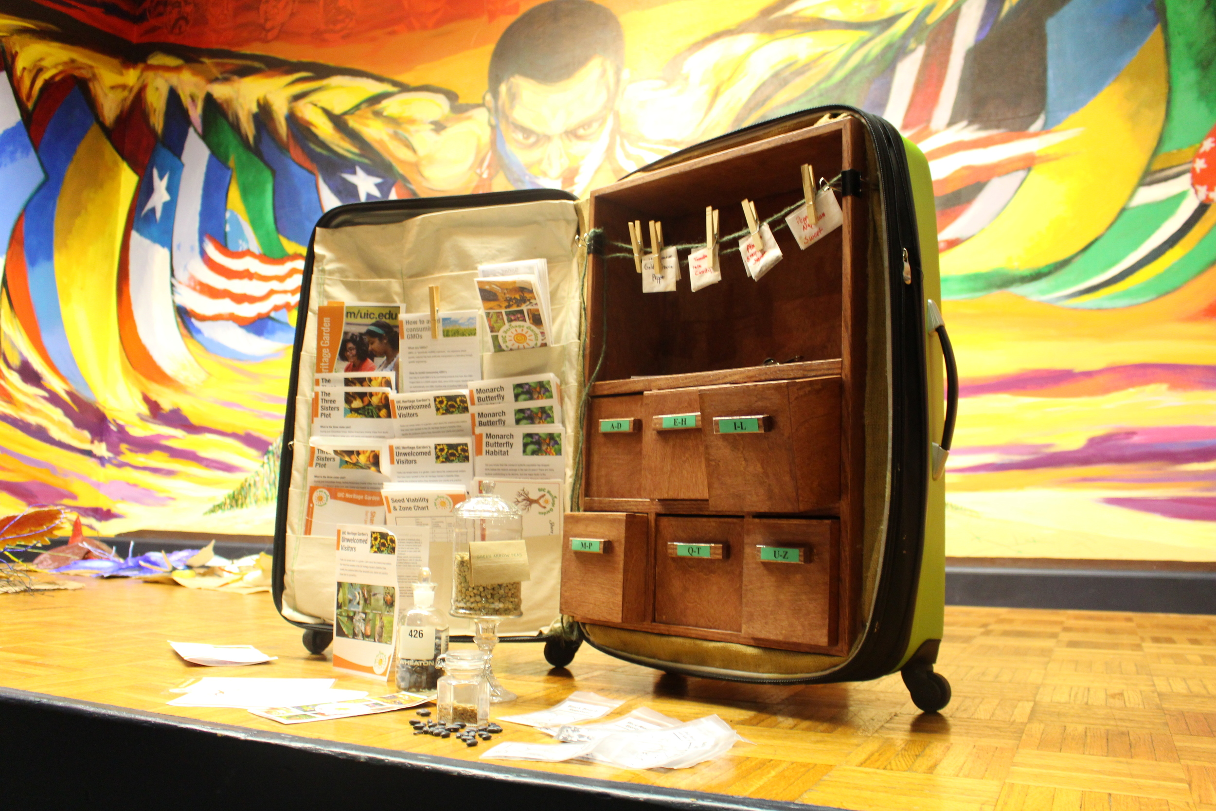 Finished mobile seed library on stage of the LCC