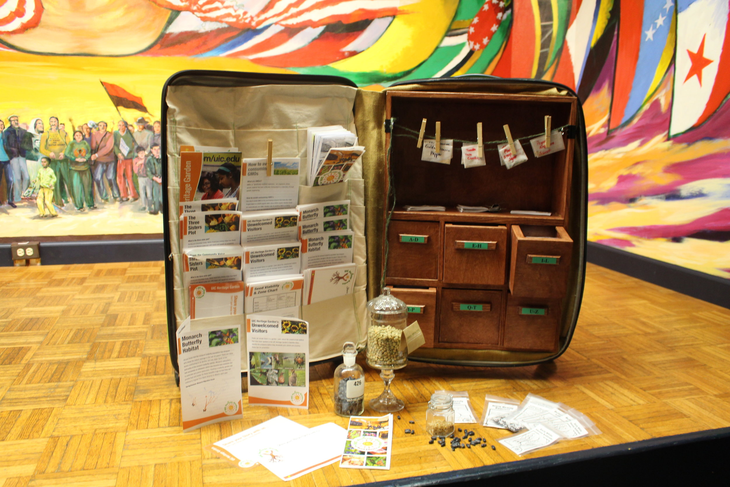 another angle of the suitcase seed library
