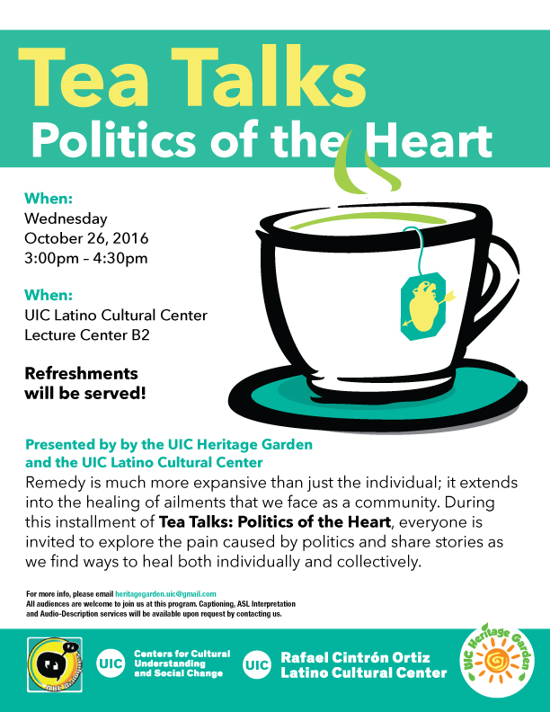 Poster. Tea Talks: Politics of the Heart