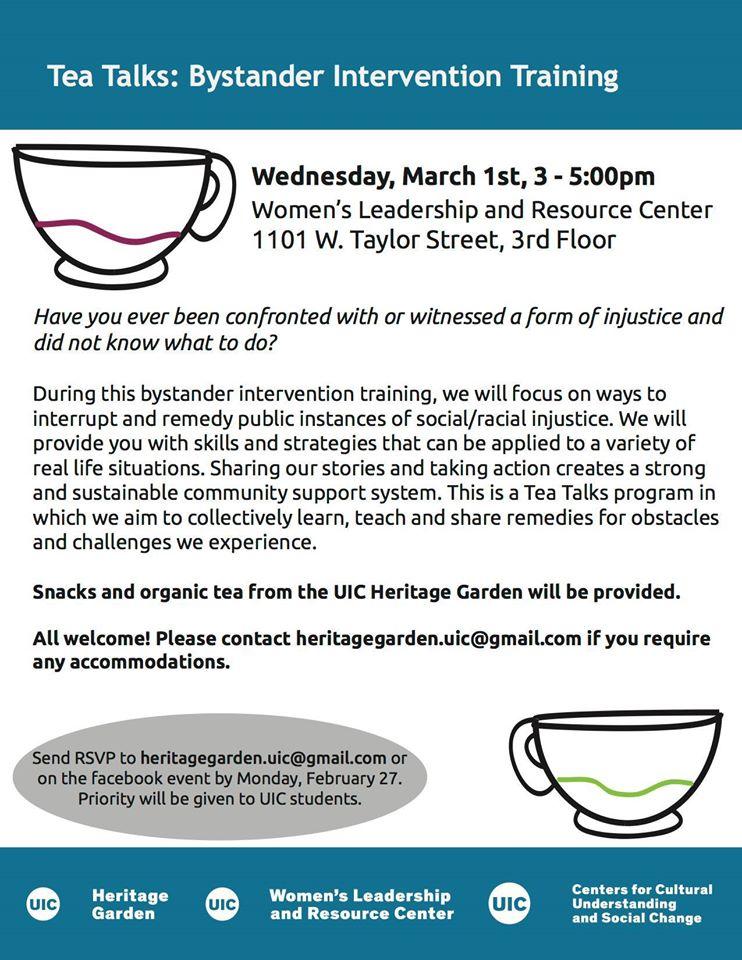 Poster. Tea Talks: Bystander Intervention Training