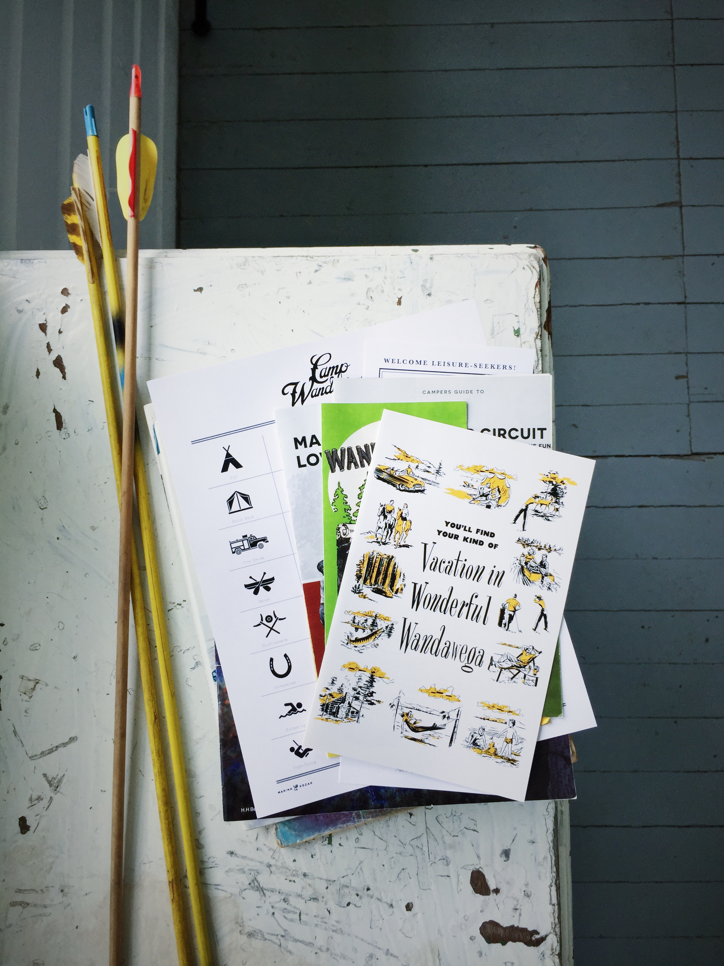 A photo of reading material at Camp Wandawega in Elkhorn, Wisconsin.