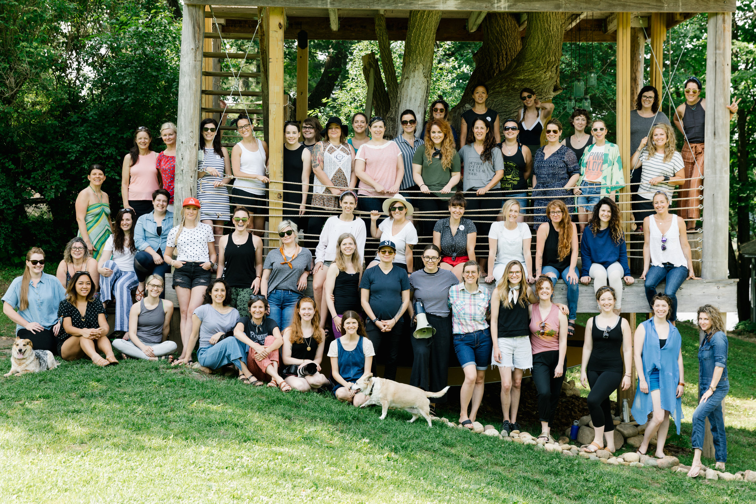 The group of women who attended Let's Camp 2018 at Camp Wandawega in Elkhorn, Wisconsin.
