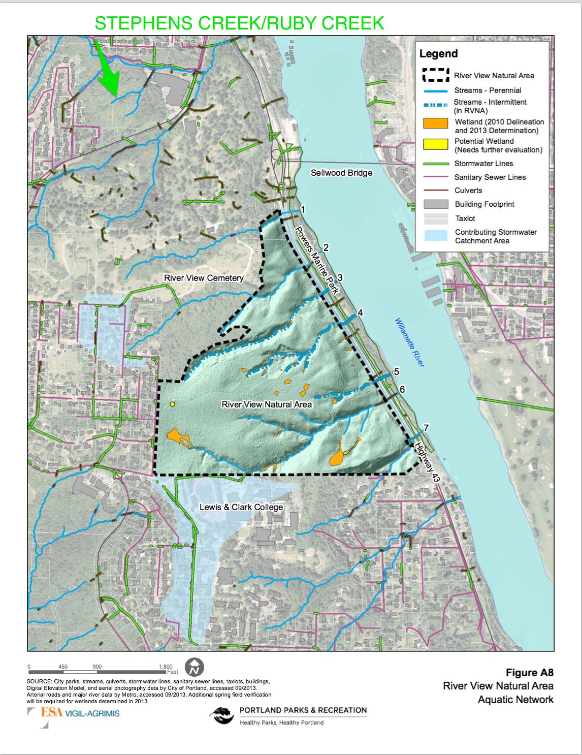 Aquatic Network showing Stephens Creek and Ruby Creek that have endangered Salmon and Trout that migrate to Willamette River as one of the few remaining open creeks.