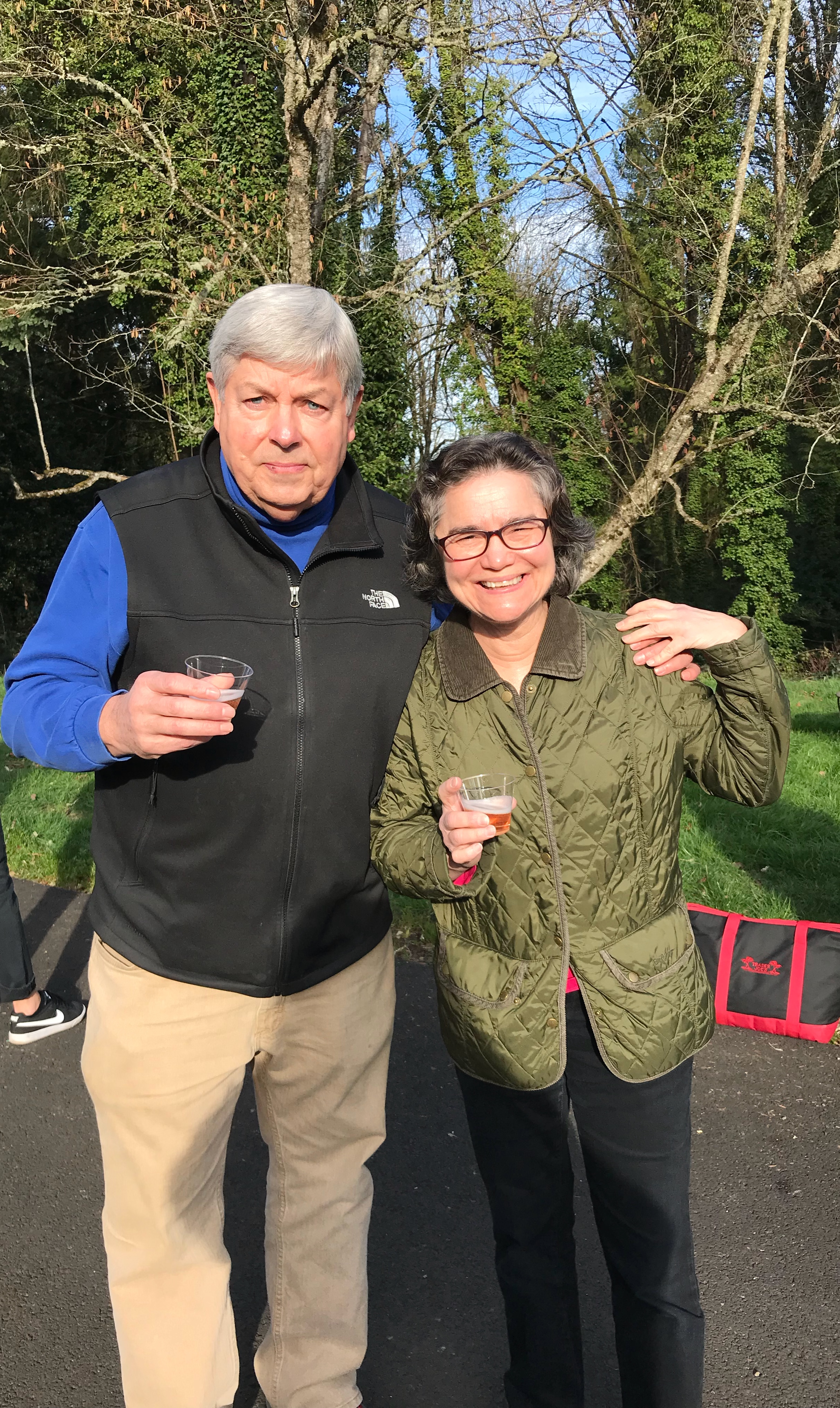 Scott Burns, PhD Professor of Geology at PSU celebrates with South Burlingame neighbor Linda