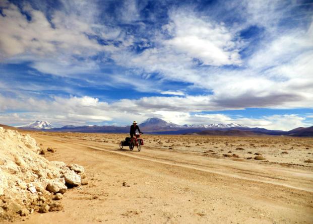 Gabe Leoni biking through Chile