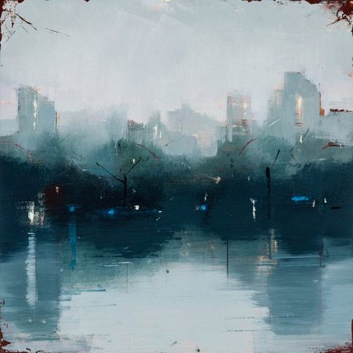 """LISA BRESLOW   NOCTURNE I   oil on panel  12""""h x 12""""w"""