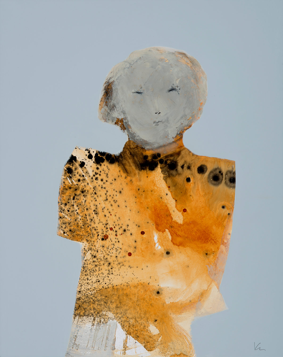 "Marianne Kolb - Explorations with Rust -  rust, sumi ink colored gesso on panel (No.18) - 27""h x 20""w framed"