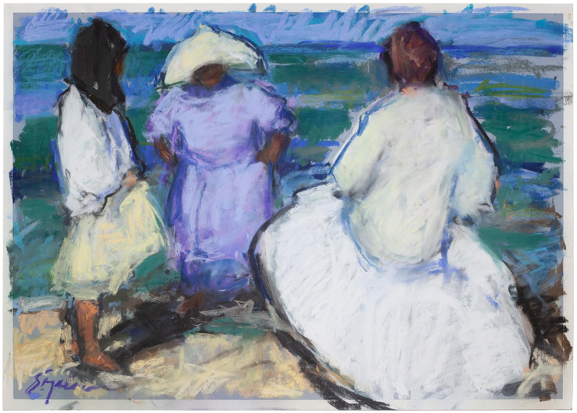 """Beach Conversation , pastel, 20"""" x 28"""""""