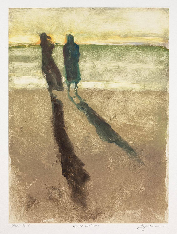"Beach Shadows , monotype, 16"" x 12"""